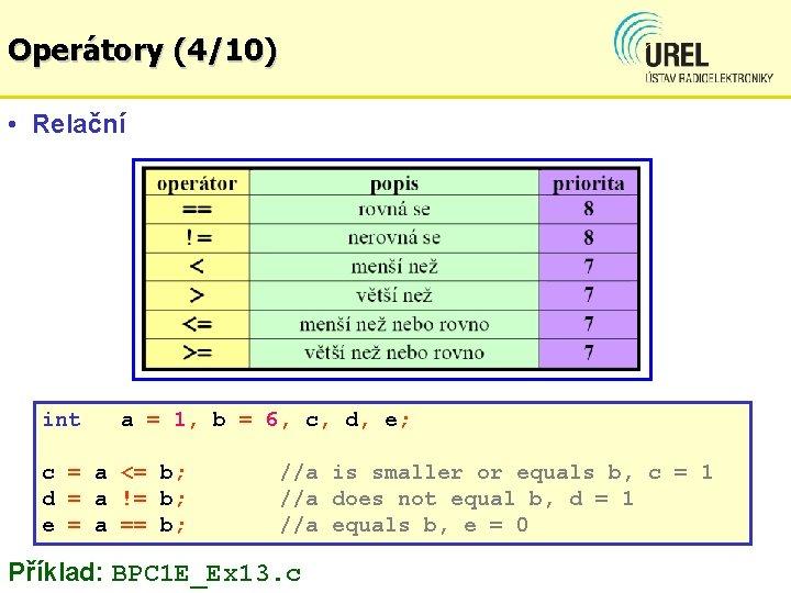 Operátory (4/10) • Relační int a = 1, b = 6, c, d, e;