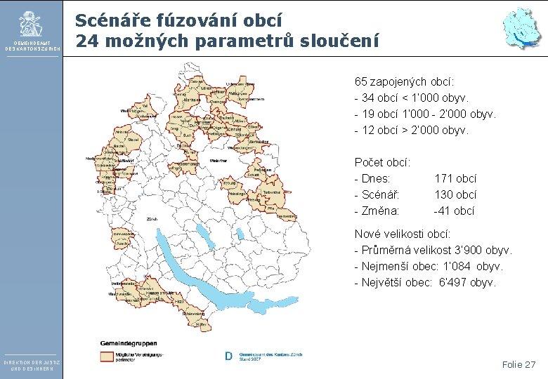 GEMEINDEAMT DES KANTONS ZÜRICH Scénáře fúzování obcí 24 možných parametrů sloučení 65 zapojených obcí: