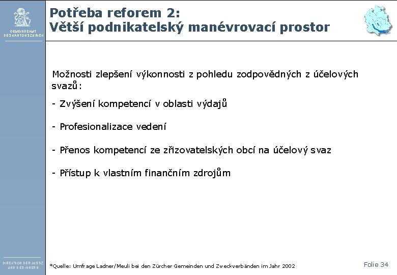 GEMEINDEAMT DES KANTONS ZÜRICH Potřeba reforem 2: Větší podnikatelský manévrovací prostor Možnosti zlepšení výkonnosti