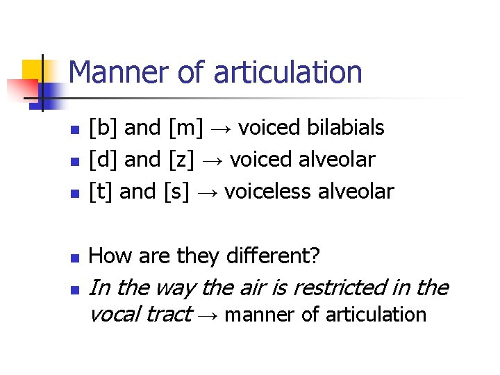 Manner of articulation n [b] and [m] → voiced bilabials [d] and [z] →