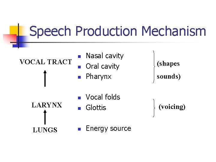 Speech Production Mechanism VOCAL TRACT n n n Nasal cavity Oral cavity Pharynx LARYNX
