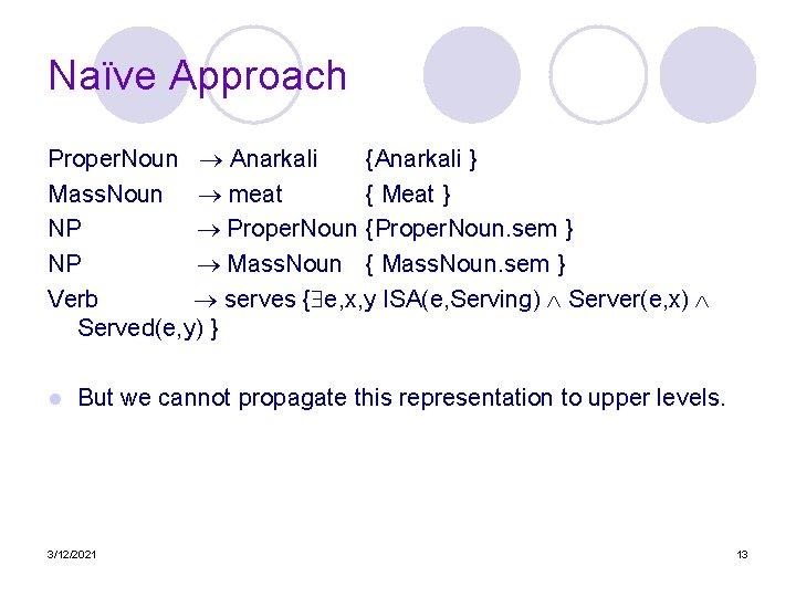 Naïve Approach Proper. Noun Anarkali {Anarkali } Mass. Noun meat { Meat } NP