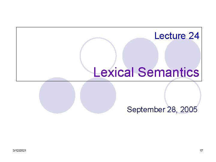 Lecture 24 Lexical Semantics September 28, 2005 3/12/2021 17