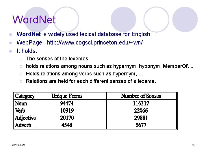 Word. Net is widely used lexical database for English. l Web. Page: http: //www.