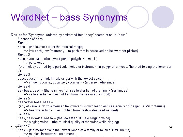 """Word. Net – bass Synonyms Results for """"Synonyms, ordered by estimated frequency"""" search of"""