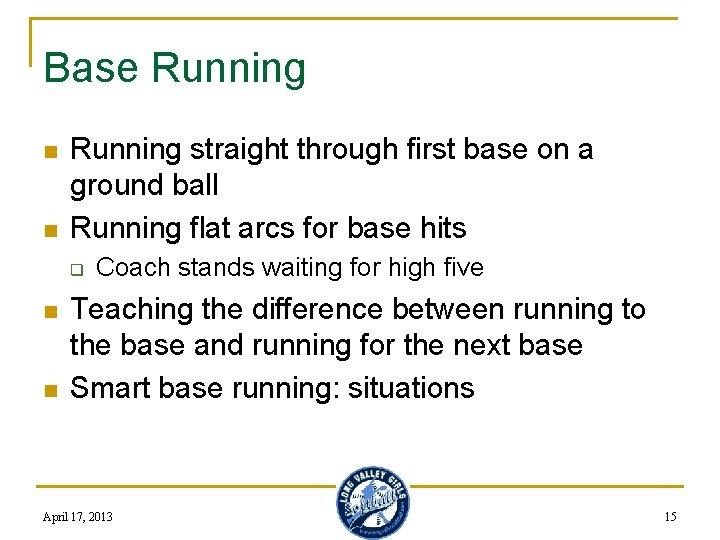 Base Running n n Running straight through first base on a ground ball Running