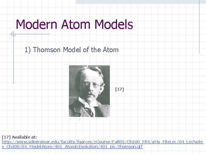 Modern Atom Models 1) Thomson Model of the Atom [17] Available at: http: //www.
