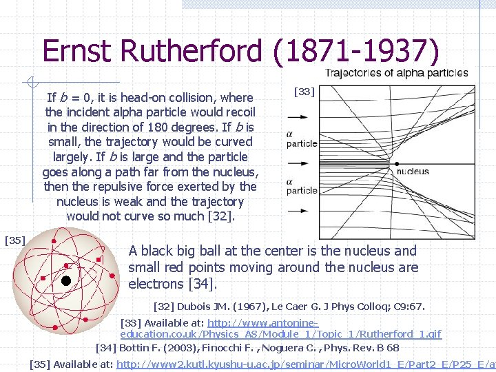 Ernst Rutherford (1871 -1937) If b = 0, it is head-on collision, where the