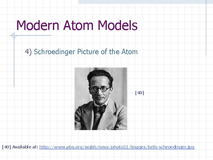 Modern Atom Models 4) Schroedinger Picture of the Atom [40] Available at: http: //www.