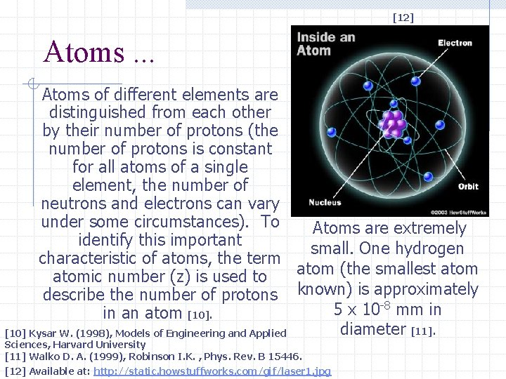 [12] Atoms. . . Atoms of different elements are distinguished from each other by