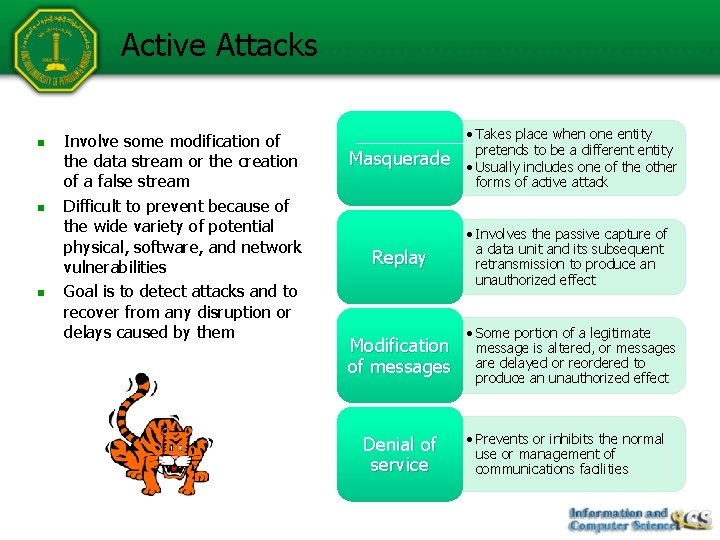 Active Attacks n n n Involve some modification of the data stream or the