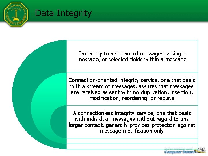 Data Integrity Can apply to a stream of messages, a single message, or selected