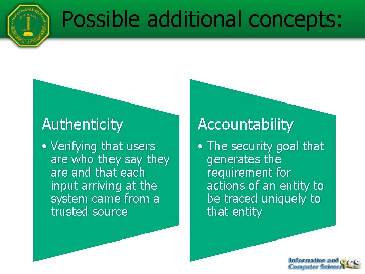 Possible additional concepts: Authenticity Accountability • Verifying that users are who they say they