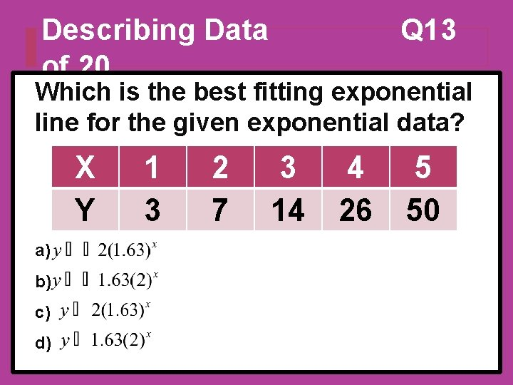 Describing Data of 20 Q 13 Which is the best fitting exponential line for