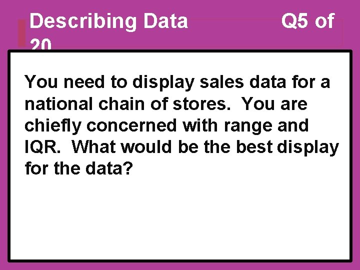 Describing Data 20 Q 5 of You need to display sales data for a