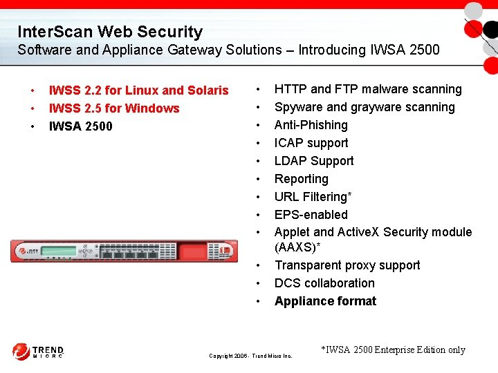Inter. Scan Web Security Software and Appliance Gateway Solutions – Introducing IWSA 2500 •