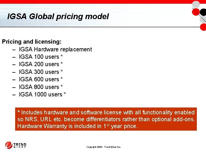IGSA Global pricing model Pricing and licensing: – IGSA Hardware replacement – IGSA 100