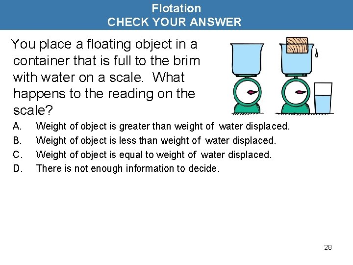 Flotation CHECK YOUR ANSWER You place a floating object in a container that is