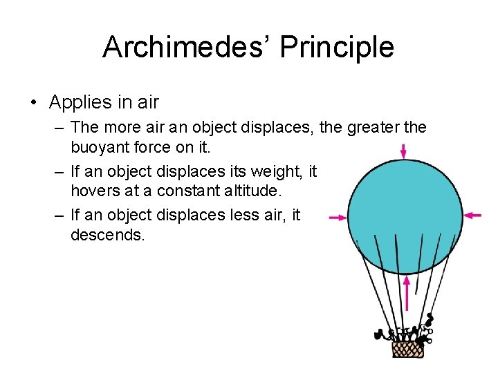 Archimedes' Principle • Applies in air – The more air an object displaces, the