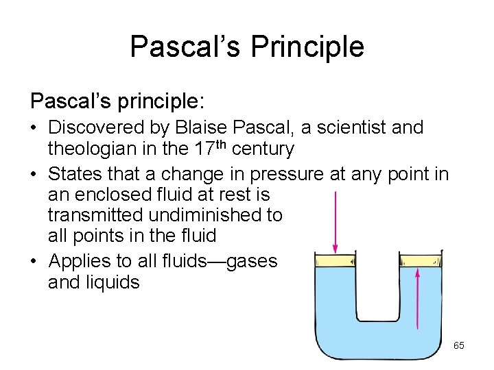 Pascal's Principle Pascal's principle: • Discovered by Blaise Pascal, a scientist and theologian in