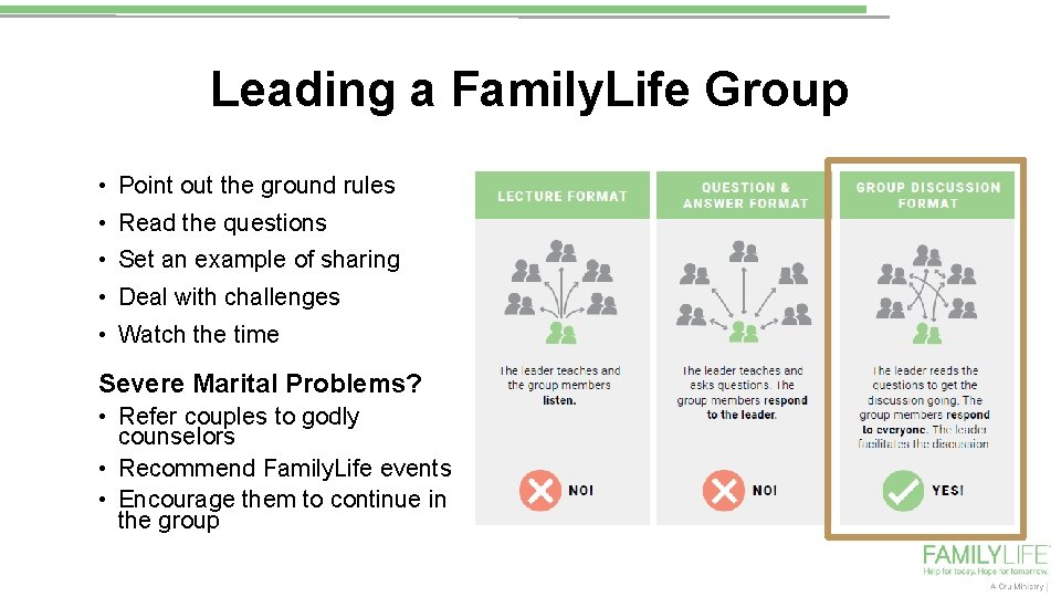 Leading a Family. Life Group • Point out the ground rules • Read the