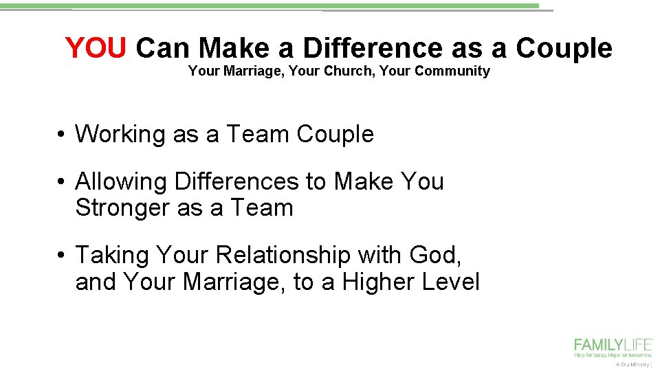 YOU Can Make a Difference as a Couple Your Marriage, Your Church, Your Community