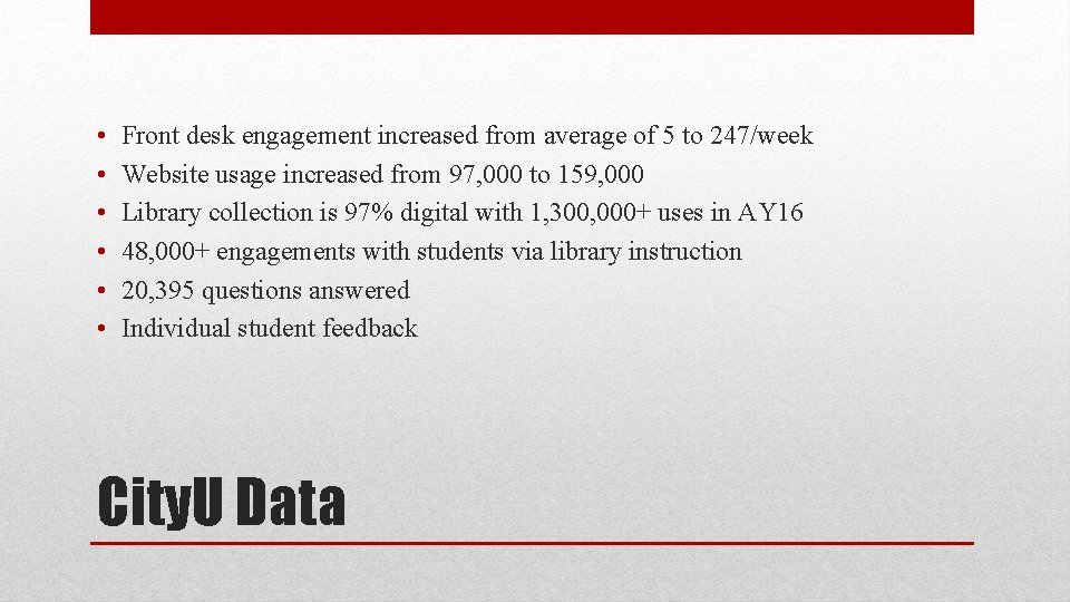 • • • Front desk engagement increased from average of 5 to 247/week