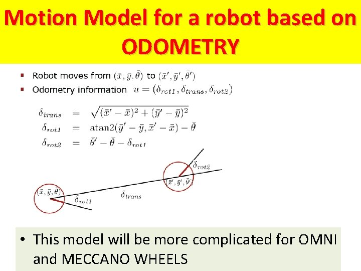 Motion Model for a robot based on ODOMETRY • This model will be more