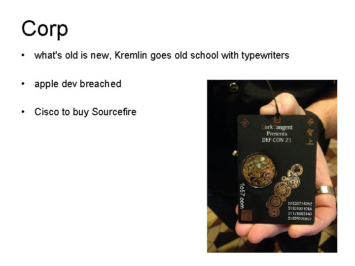 Corp • what's old is new, Kremlin goes old school with typewriters • apple