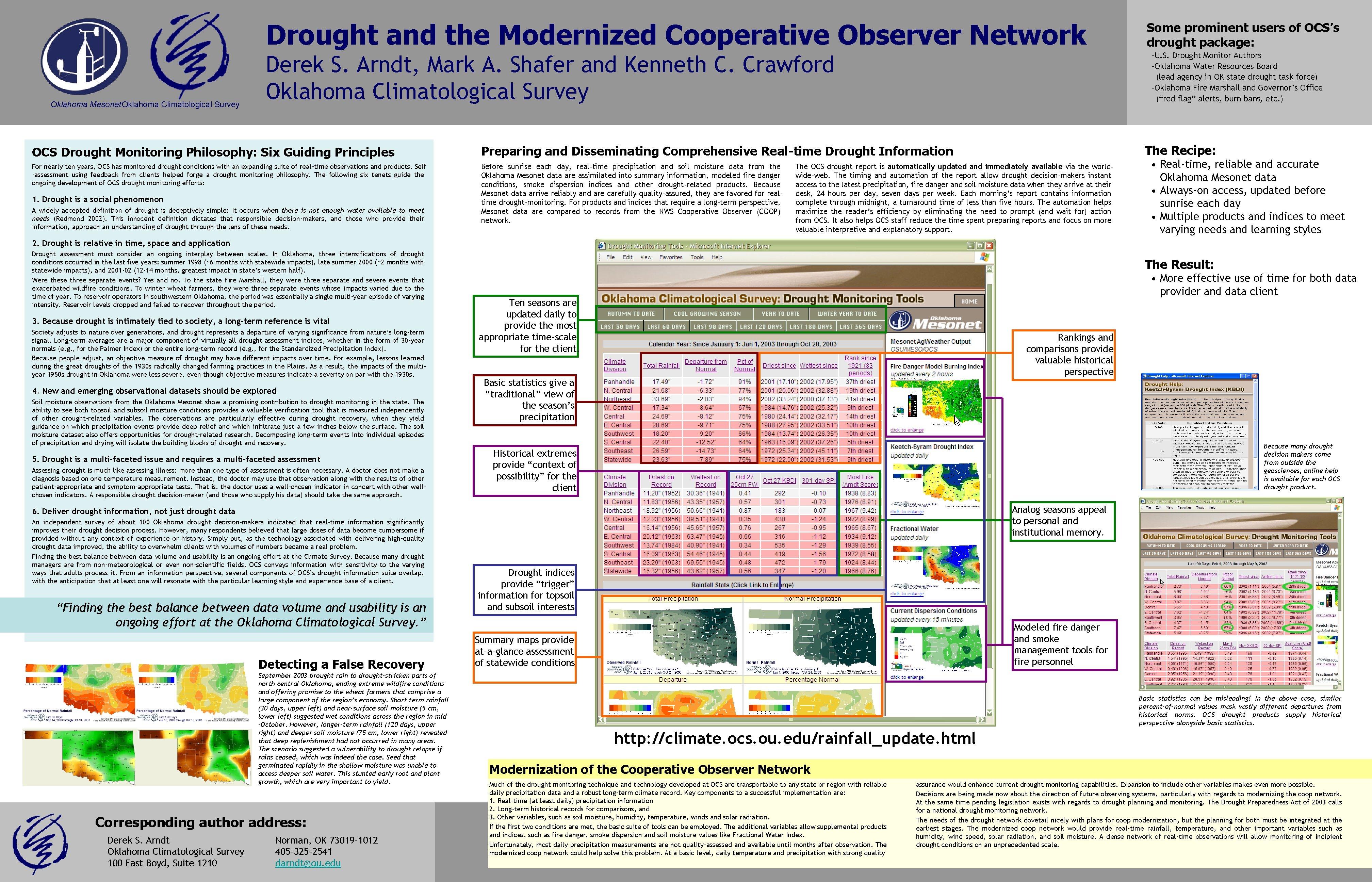 Drought and the Modernized Cooperative Observer Network Oklahoma Mesonet Oklahoma Climatological Survey –U. S.