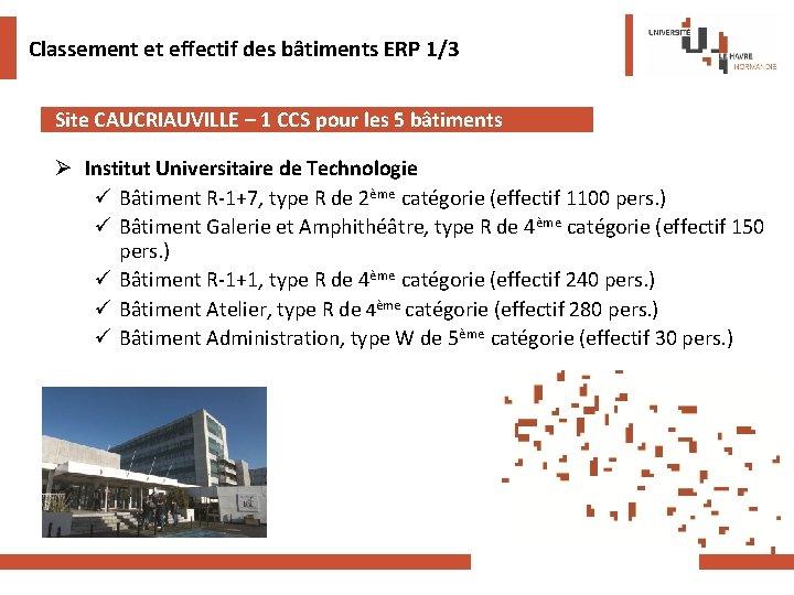 Classement et effectif des bâtiments ERP 1/3 Site CAUCRIAUVILLE – 1 CCS pour les