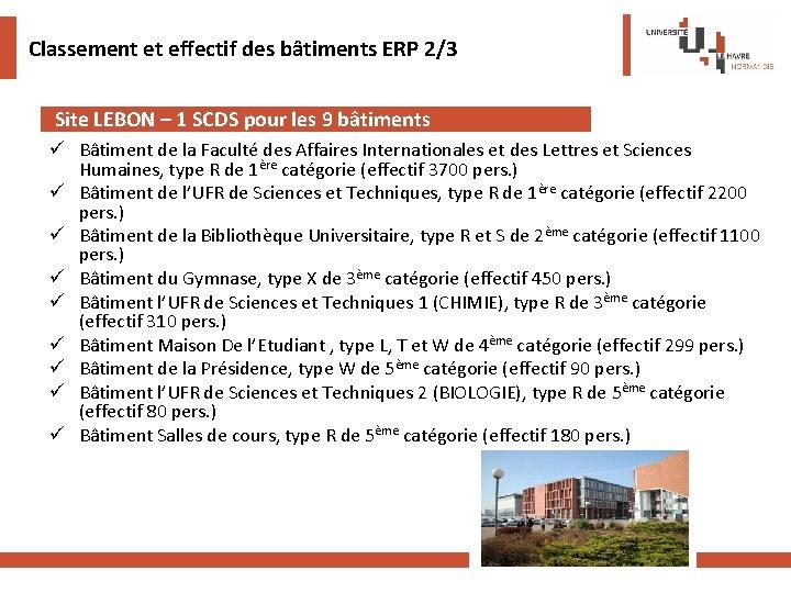 Classement et effectif des bâtiments ERP 2/3 Site LEBON – 1 SCDS pour les