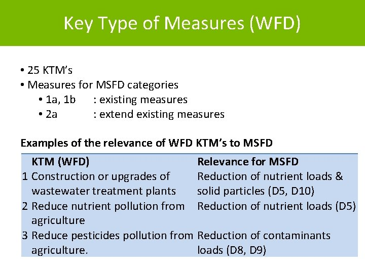 Key Type of Measures (WFD) • 25 KTM's • Measures for MSFD categories •