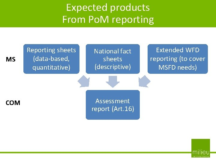 Expected products From Po. M reporting MS COM Reporting sheets (data-based, quantitative) National fact