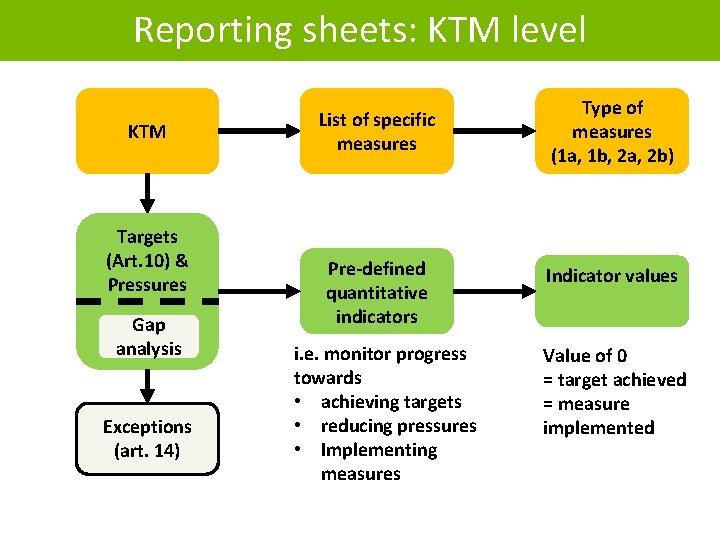 Reporting sheets: KTM level KTM Targets (Art. 10) & Pressures Gap analysis Exceptions (art.