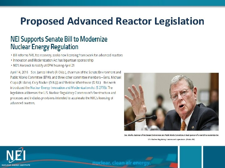 Proposed Advanced Reactor Legislation