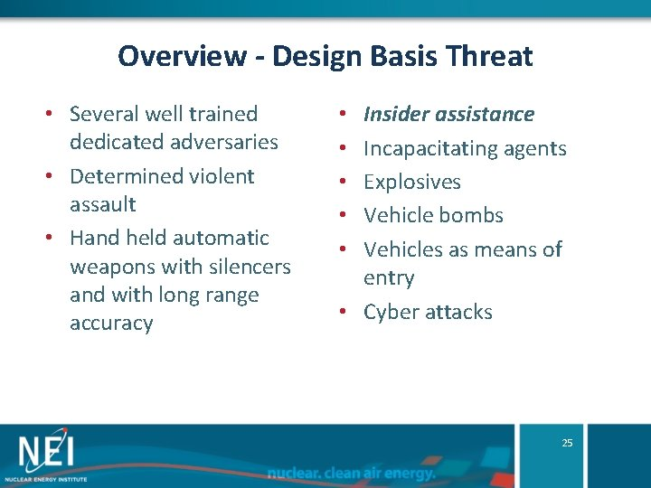 Overview - Design Basis Threat • Several well trained dedicated adversaries • Determined violent