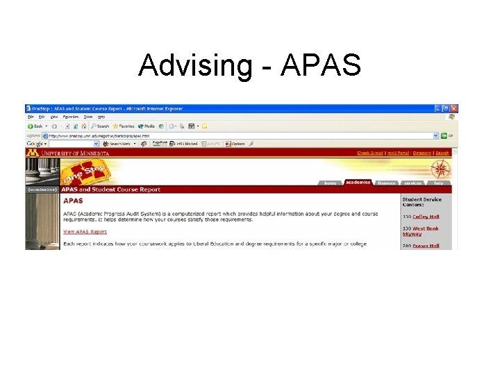 Advising - APAS