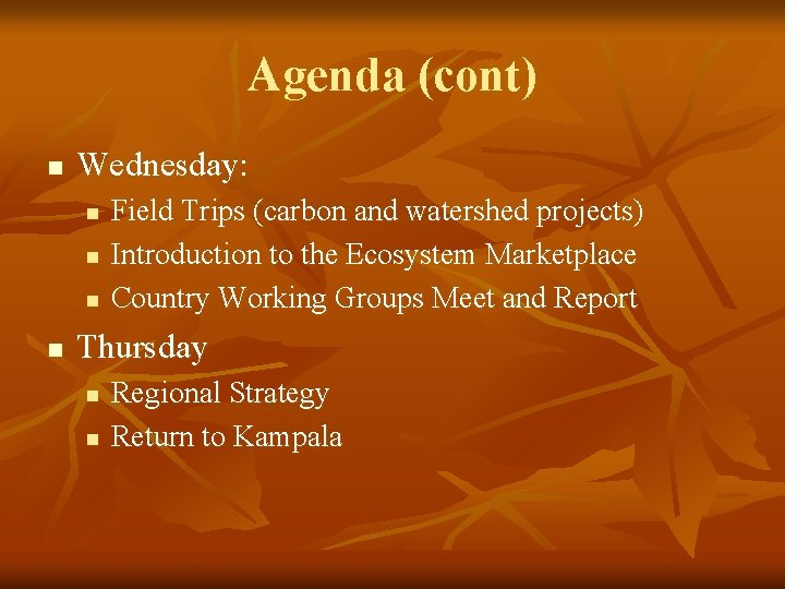 Agenda (cont) n Wednesday: n n Field Trips (carbon and watershed projects) Introduction to