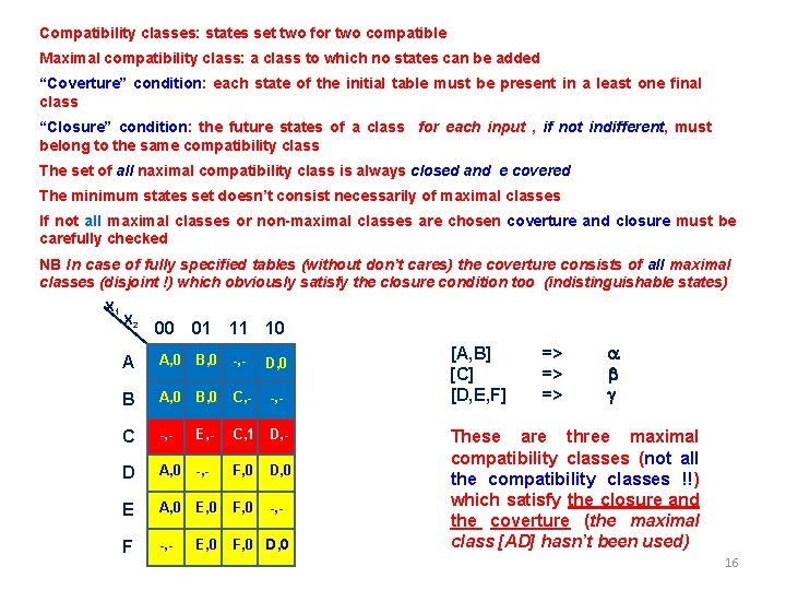 Compatibility classes: states set two for two compatible Maximal compatibility class: a class to