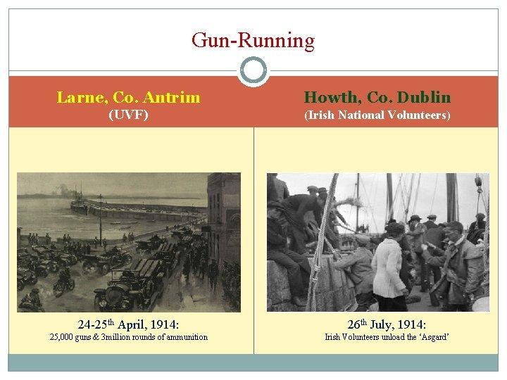 Gun-Running Larne, Co. Antrim Howth, Co. Dublin (UVF) (Irish National Volunteers) 24 -25 th