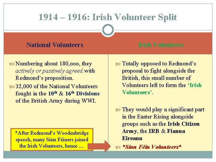1914 – 1916: Irish Volunteer Split National Volunteers Numbering about 180, ooo, they actively