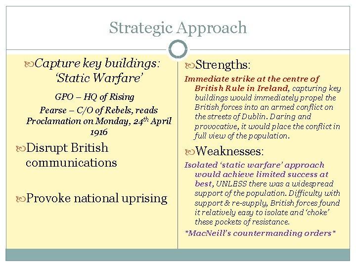 Strategic Approach Capture key buildings: 'Static Warfare' GPO – HQ of Rising Pearse –