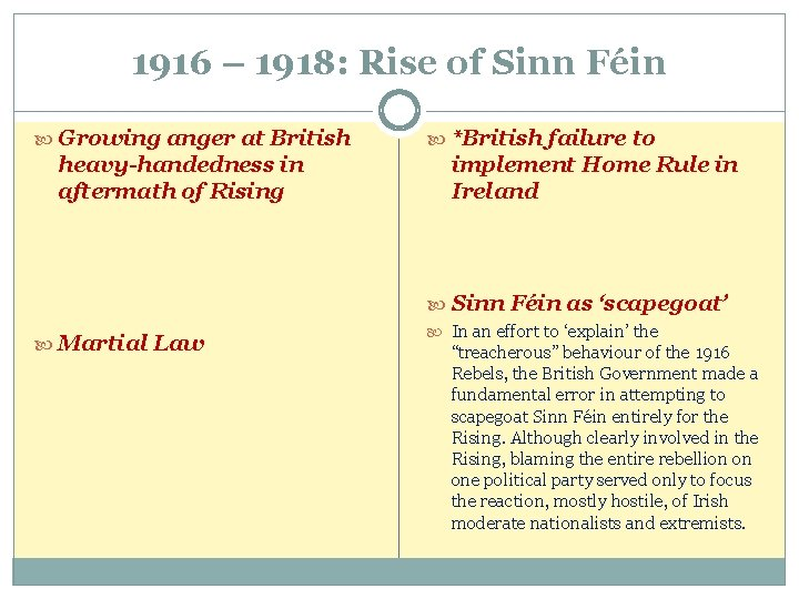 1916 – 1918: Rise of Sinn Féin Growing anger at British heavy-handedness in aftermath