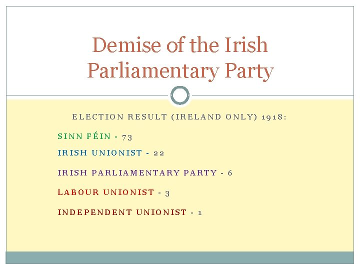 Demise of the Irish Parliamentary Party ELECTION RESULT (IRELAND ONLY) 1918: SINN FÉIN -