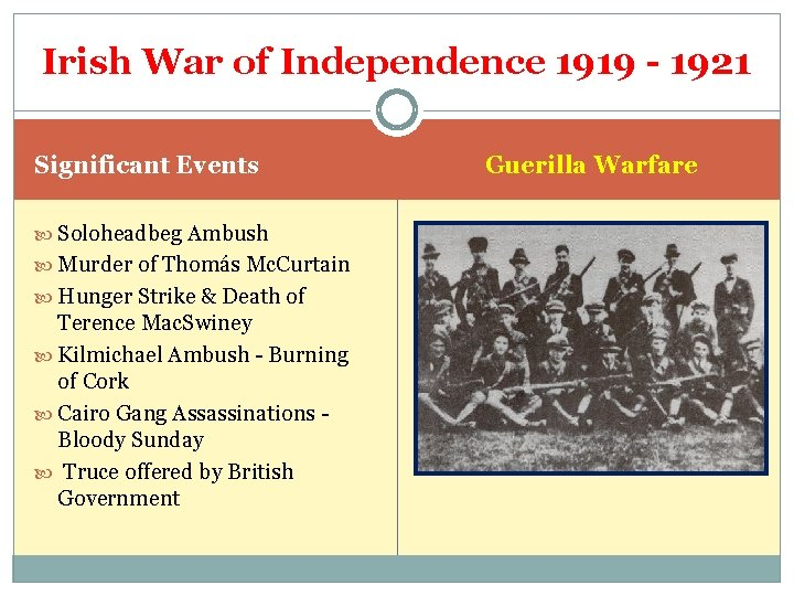 Irish War of Independence 1919 - 1921 Significant Events Soloheadbeg Ambush Murder of Thomás