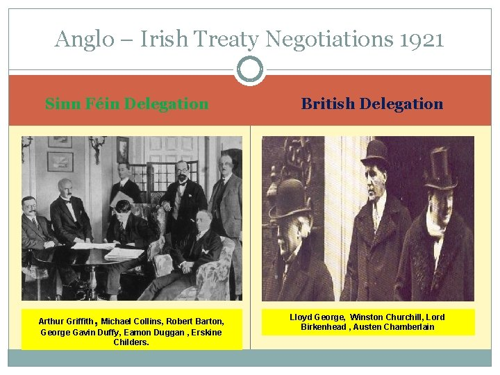 Anglo – Irish Treaty Negotiations 1921 Sinn Féin Delegation Arthur Griffith, Michael Collins, Robert