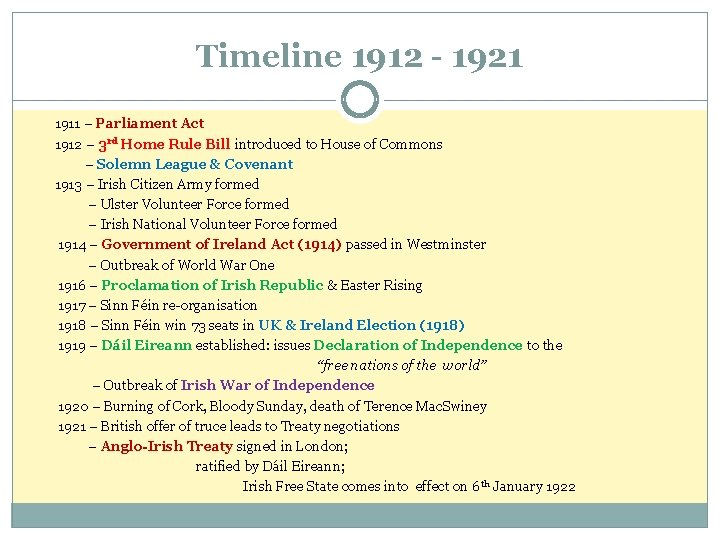 Timeline 1912 - 1921 1911 – Parliament Act 1912 – 3 rd Home Rule