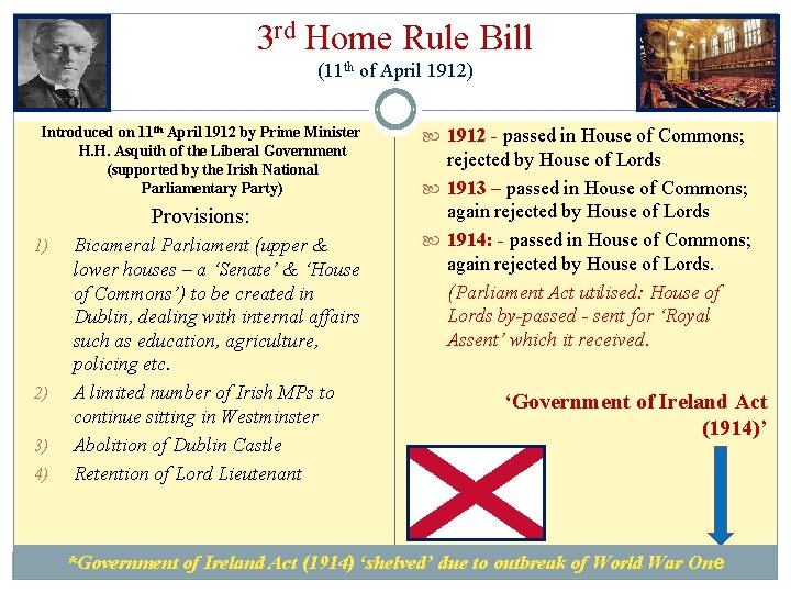 3 rd Home Rule Bill (11 th of April 1912) Introduced on 11 th