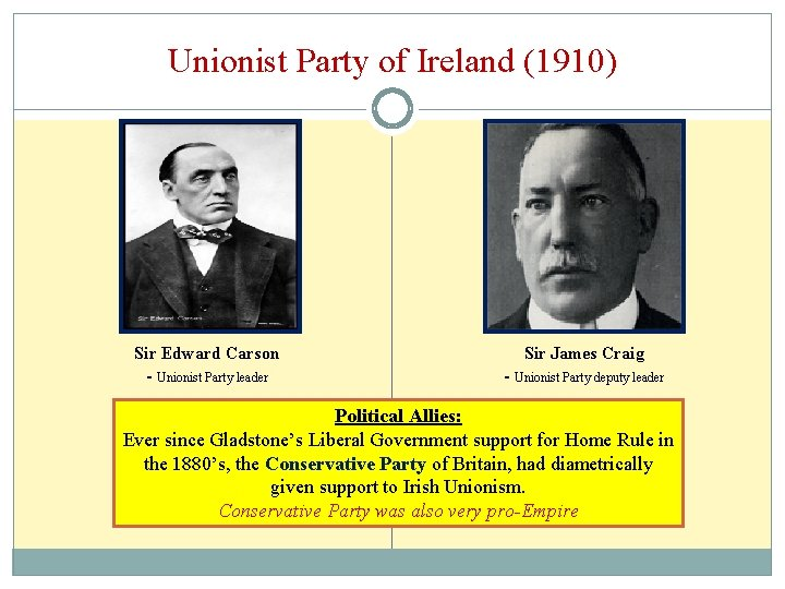 Unionist Party of Ireland (1910) Sir Edward Carson Sir James Craig - Unionist Party